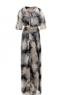 Приталенное шелковое платье-макси с воротником аскот No. 21