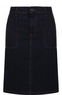 Джинсовая юбка-миди с контрастной прострочкой BOSS