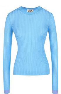 Приталенный пуловер фактурной вязки с круглым вырезом Acne Studios