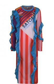 Платье-миди с принтом и перфорированными оборками Kenzo