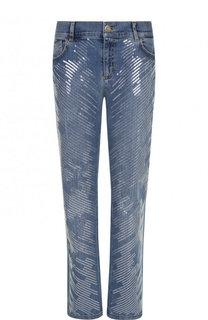 Укороченные расклешенные джинсы с пайетками Escada