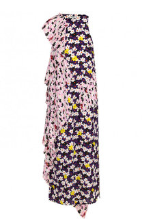 Платье-миди с цветочным принтом и плиссированными оборками Kenzo
