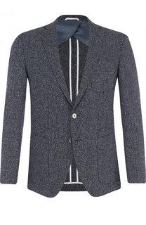 Однобортный пиджак из смеси шерсти и шелка с хлопком BOSS