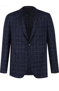 Однобортный пиджак из смеси шерсти и шелка со льном Pal Zileri