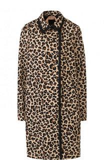 Хлопковое пальто с отложным воротником и леопардовым принтом No. 21