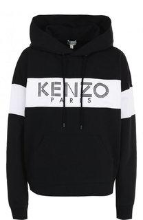 Хлопковая толстовка с логотипом бренда и капюшоном Kenzo
