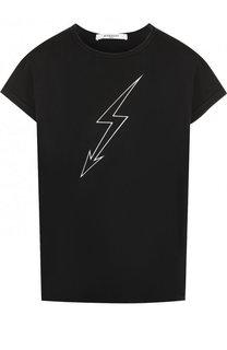 Хлопковая футболка с круглым вырезом и принтом Givenchy
