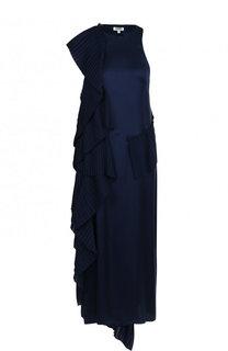 Однотонное платье-миди с плиссированными оборками Kenzo