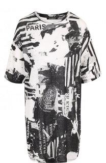 Льняная футболка свободного кроя с принтом Balmain