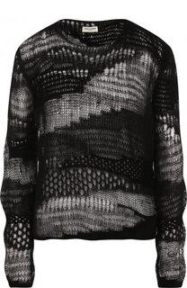 Пуловер фактурной вязки с круглым вырезом Saint Laurent