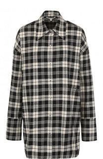 Хлопковая блуза свободного кроя в клетку Helmut Lang
