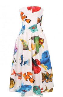 Хлопковое платье-бюстье с принтом Stella Jean