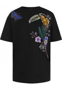 Хлопковая футболка с контрастной отделкой Roberto Cavalli