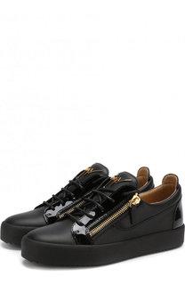 Кожаные кеды Frankie на шнуровке Giuseppe Zanotti Design