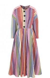 Приталенное хлопковое платье-миди в полоску Tata Naka