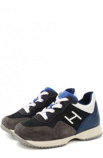 Кожаные кроссовки с замшевой отделкой на шнуровке Hogan