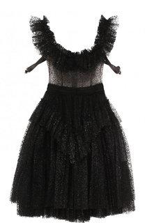 Приталенное кружевное мини-платье Dsquared2