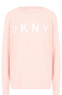Свитшот свободного кроя с надписью DKNY