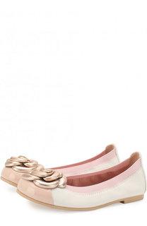 Кожаные балетки с лаковым мысом и металлизированным декором Pretty Ballerinas