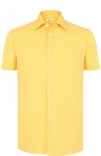 Рубашка с короткими рукавами и смеси хлопка и льна Kiton