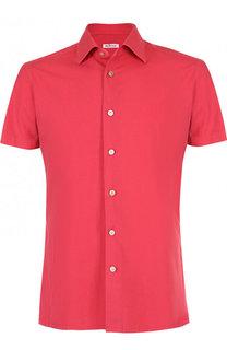 Рубашка с короткими рукавами из смеси хлопка и льна Kiton
