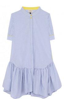 Платье прямого кроя в полоску с воротником-стойкой Armani Junior