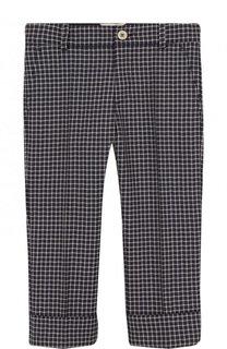 Шерстяные брюки в клетку с отворотами Gucci