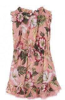 Пляжное мини-платье из хлопка с принтом Zimmermann