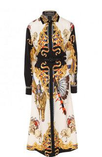 Шелковое платье-рубашка с принтом и поясом Versace