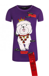 Приталенная хлопковая футболка с принтом Dolce & Gabbana