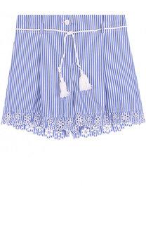 Хлопковые шорты с фестонами и поясом с кисточками Ermanno Scervino