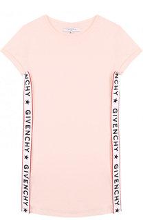 Мини-платье прямого кроя из хлопка и вискозы с контрастной отделкой Givenchy