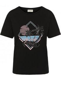 Хлопковая футболка прямого кроя с принтом Saint Laurent