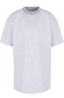 Однотонная хлопковая футболка Acne Studios