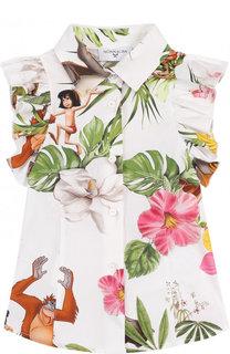Хлопковая блуза с принтом и оборками Monnalisa