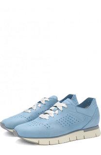 Кожаные кроссовки на шнуровке Santoni