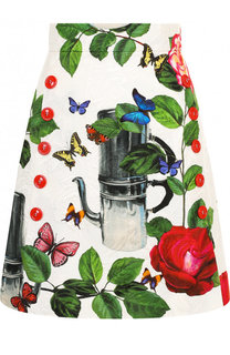 Мини-юбка А-силуэта с ярким принтом Dolce & Gabbana