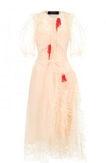 Платье с объемными рукавами и драпировкой Simone Rocha