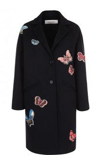 Пальто из смеси шерсти и кашемира с отделкой в виде бабочек Valentino