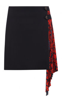 Шерстяная юбка с шелковой плиссированной оборкой Givenchy