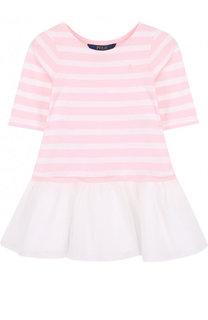 Хлопковое мини-платье в полоску с многослойной отделкой Polo Ralph Lauren