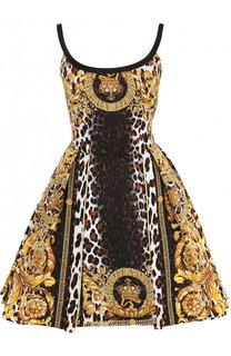 Мини-платье из смеси хлопка и шелка с принтом Versace