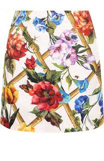 Мини-юбка из смеси хлопка и шелка с принтом Dolce & Gabbana
