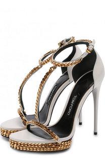 Кожаные босоножки Chain на шпильке Tom Ford