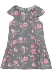 Хлопковое мини-платье А-силуэта с принтом Tartine Et Chocolat