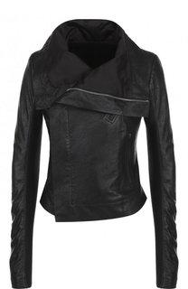Приталенная кожаная куртка с косой молнией Rick Owens