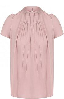Шелковая блуза с драпировкой и воротником-стойкой Giorgio Armani