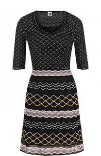 Приталенное вязаное мини-платье из смеси хлопка и вискозы M Missoni