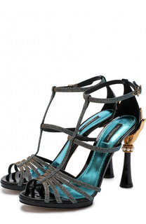 Босоножки Keira из металлизированного текстиля на фигурном каблуке Dolce & Gabbana