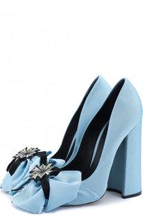 Текстильные туфли Margarita с бантом на устойчивом каблуке Aleksandersiradekian
